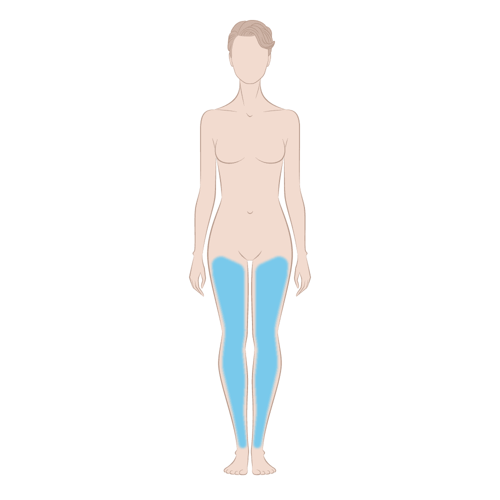 Vein Away Skin Area Diagram